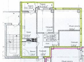 ЖК «Восток», планировка 3-комнатной квартиры, 82.78 м²