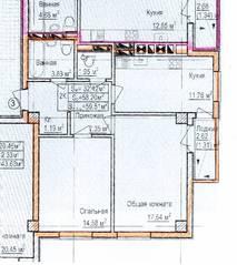 ЖК «Восток», планировка 2-комнатной квартиры, 59.51 м²