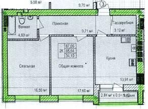 ЖК «Восток», планировка 2-комнатной квартиры, 67.06 м²