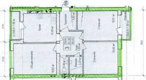 ЖК «Восток», планировка 3-комнатной квартиры, 84.43 м²