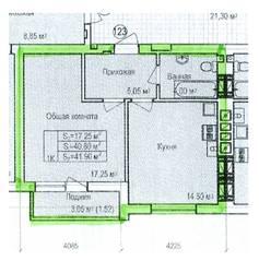ЖК «Восток», планировка 1-комнатной квартиры, 41.90 м²