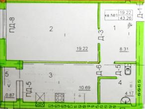 ЖК «на улице Октябрьской», планировка 1-комнатной квартиры, 43.26 м²