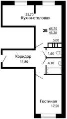 ЖК «На семи холмах», планировка 1-комнатной квартиры, 65.70 м²