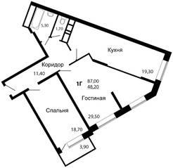ЖК «На семи холмах», планировка 2-комнатной квартиры, 87.00 м²