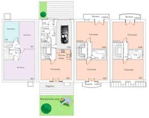 МЖК «Арбатская слобода», планировка 5-комнатной квартиры, 242.30 м²