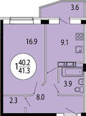 ЖК «Прибрежный» (Лыткарино), планировка 1-комнатной квартиры, 41.40 м²