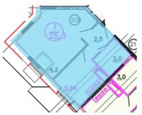 ЖК «Олимп» (Клин), планировка 1-комнатной квартиры, 25.30 м²