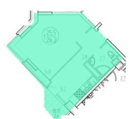 ЖК «Олимп» (Клин), планировка 1-комнатной квартиры, 26.20 м²