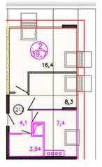ЖК «Олимп» (Клин), планировка 2-комнатной квартиры, 39.70 м²