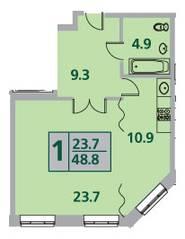 ЖК «Усово парк», планировка 1-комнатной квартиры, 48.80 м²