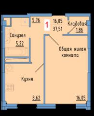 ЖК «Сосновый парк», планировка 1-комнатной квартиры, 37.51 м²