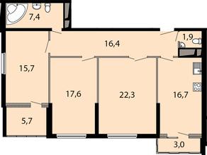 ЖК «Макеевский», планировка 3-комнатной квартиры, 103.40 м²
