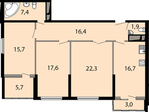 ЖК «Макеевский», планировка 3-комнатной квартиры, 102.30 м²