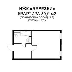 МЖК «Берёзки» (Тучково), планировка студии, 30.90 м²