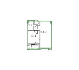 ЖК «Микрогород «В лесу», планировка 1-комнатной квартиры, 47.10 м²
