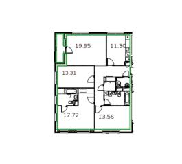 ЖК «Микрогород «В лесу», планировка 4-комнатной квартиры, 104.70 м²