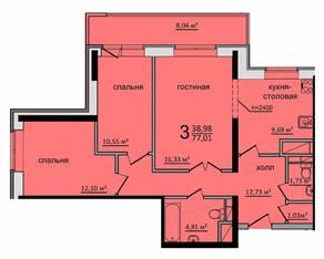 ЖК «Солнечный» (Раменское), планировка 3-комнатной квартиры, 77.01 м²