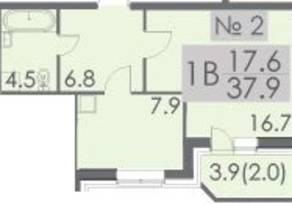 ЖК «Некрасовский», планировка 1-комнатной квартиры, 37.90 м²