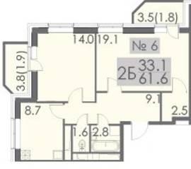 ЖК «Некрасовский», планировка 2-комнатной квартиры, 61.60 м²