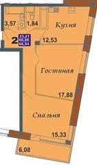 ЖК «Bravo!», планировка 2-комнатной квартиры, 66.94 м²
