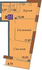 ЖК «Bravo!», планировка 2-комнатной квартиры, 67.37 м²