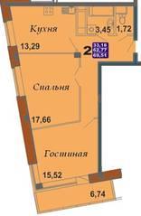ЖК «Bravo!», планировка 2-комнатной квартиры, 69.51 м²