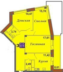 ЖК «Bravo!», планировка 3-комнатной квартиры, 91.17 м²