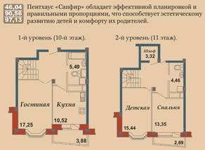 ЖК «Bravo!», планировка 3-комнатной квартиры, 97.13 м²