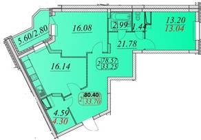 ЖК «Сосновка», планировка 2-комнатной квартиры, 80.40 м²