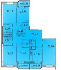 ЖК «Сосновка», планировка 5-комнатной квартиры, 154.00 м²