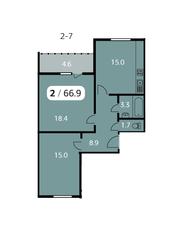 ЖК «Парк на Фабричной», планировка 2-комнатной квартиры, 66.90 м²
