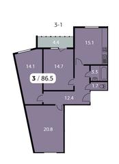 ЖК «Парк на Фабричной», планировка 3-комнатной квартиры, 86.50 м²