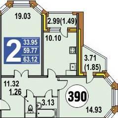 ЖК «Финский», планировка 2-комнатной квартиры, 63.00 м²