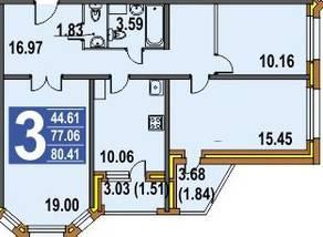 ЖК «Финский», планировка 3-комнатной квартиры, 80.00 м²