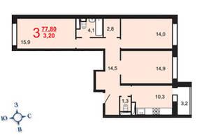 ЖК «Мичуринский квартал», планировка 3-комнатной квартиры, 77.80 м²