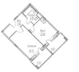 ЖК «Северное сияние» (Электросталь), планировка 1-комнатной квартиры, 40.98 м²