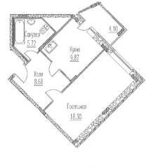 ЖК «Северное сияние» (Электросталь), планировка 1-комнатной квартиры, 44.62 м²
