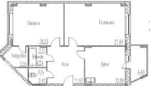 ЖК «Северное сияние» (Электросталь), планировка 2-комнатной квартиры, 76.29 м²