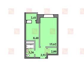ЖК «Пустовский», планировка 1-комнатной квартиры, 35.73 м²