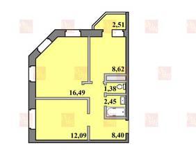 ЖК «Пустовский», планировка 2-комнатной квартиры, 51.94 м²