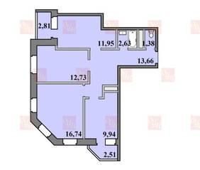 ЖК «Пустовский», планировка 3-комнатной квартиры, 74.35 м²
