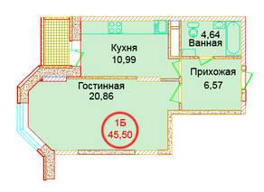 ЖК «Эдельвейс Комфорт», планировка 1-комнатной квартиры, 45.50 м²
