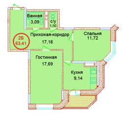 ЖК «Эдельвейс Комфорт», планировка 2-комнатной квартиры, 63.41 м²