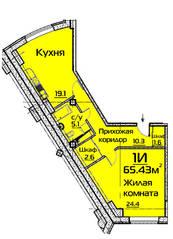 ЖК «Эдельвейс Комфорт», планировка 1-комнатной квартиры, 65.43 м²