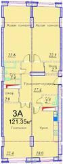 ЖК «Эдельвейс Комфорт», планировка 3-комнатной квартиры, 121.35 м²