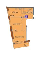 ЖК «Bravo!», планировка 2-комнатной квартиры, 69.69 м²