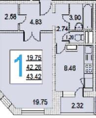 ЖК «iLove», планировка 1-комнатной квартиры, 42.26 м²