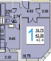 ЖК «iLove», планировка 1-комнатной квартиры, 42.40 м²