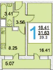 ЖК «iLove», планировка 1-комнатной квартиры, 39.30 м²