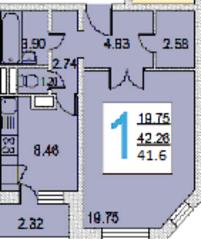 ЖК «iLove», планировка 1-комнатной квартиры, 41.60 м²
